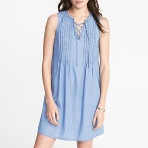 Old Navy pintuck chambray lace up dress